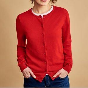 Ann Taylor Merino Wool Crew Cardigan Sweater Red